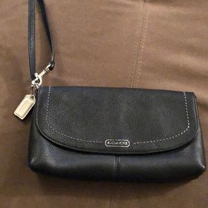 Coach Black Leather Clutch Wristlet